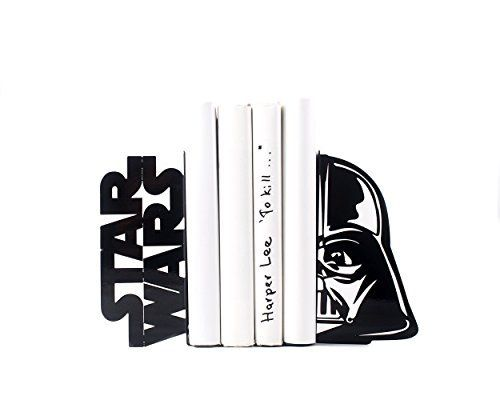 A pair of metal decorative bookends Darth Vader Star Wars. Cool and functional book holders to organize your Star Wars collections. Books or DVDs.