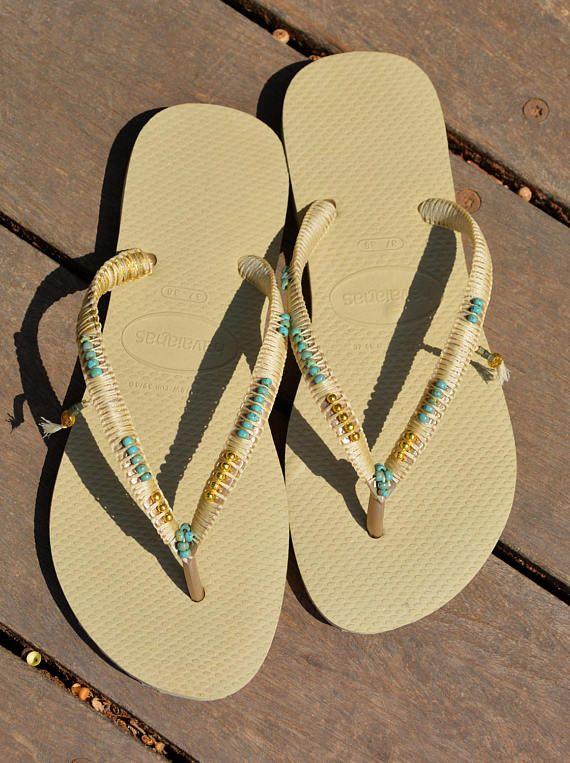 6d015c307cd64 Bohemian Sandals, Boho Wedding Shoe, Decorated Flip Flops ...