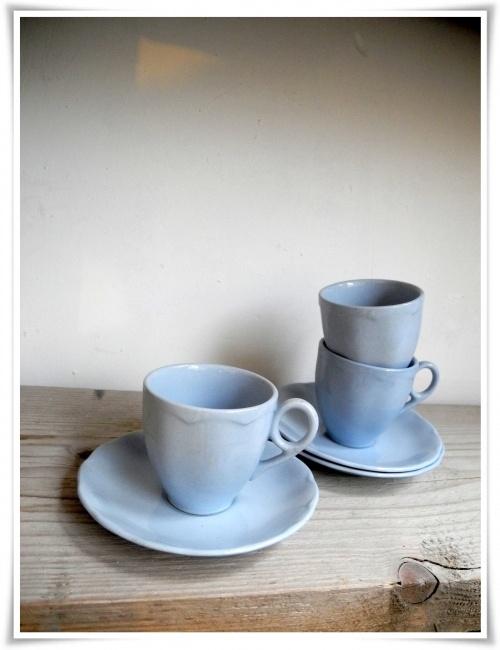 Espresso kopjes Grindley england - hemels blauw - setje van 3 kop en schotels