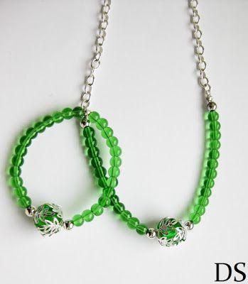 DS 4 Kunst: Komplet zielony + event / green bracelet green nec...