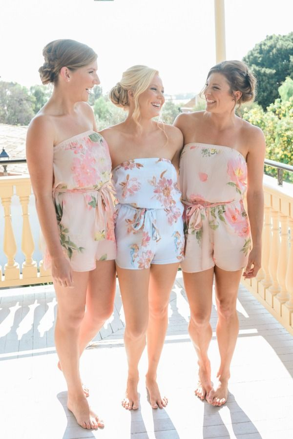 Bridesmaid goals. Rompers from Plum Pretty Sugar are something to enjoy again and again long after the wedding.  www.PlumPrettySugar.com.