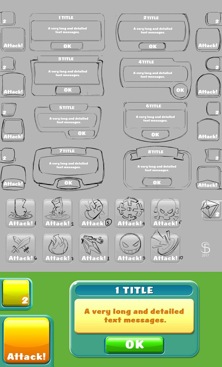Frame forms and attack icon variants for cartoon style mobile game. #GameArt #Co… – Sergey Biryukov Art