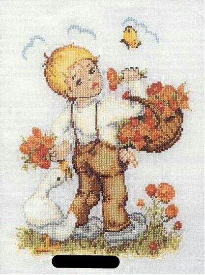 Niño con ganso