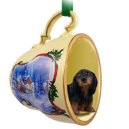 Dachshund Longhaired Black Dog Decorative Sleigh Tea Cup