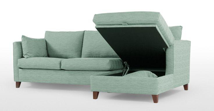 Bari, canapé-lit d'angle droit avec compartiment de rangement, bleu mentholé | made.com
