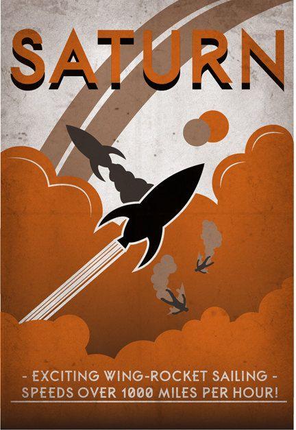 Retro Sci-Fi Saturn Travel Poster - 13x19 Print. $25.00, via Etsy.