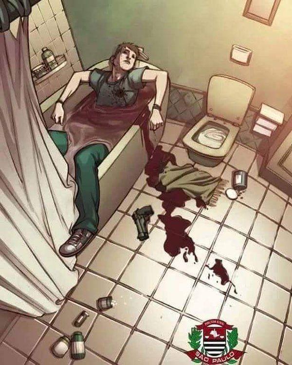 """""""DESVENDE O ENIGMA: Analisando a cena da morte voce acha que esse homem... a)Cometeu suicidio b)Foi assassinado"""""""