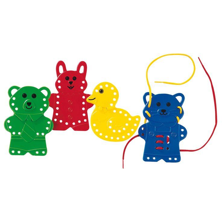 8 animaux et 4 lacets en couleur pour développer l'habileté gestuelle et la concentration.