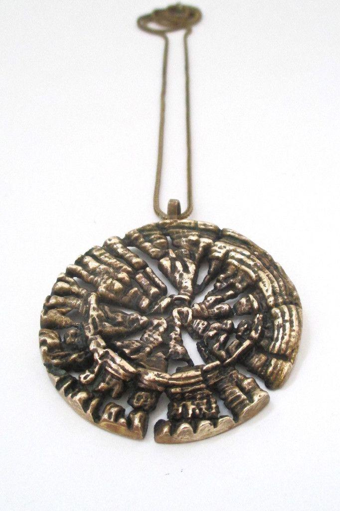 Pentti Sarpaneva, Finland -  large vintage pierced bronze pendant necklace #bronze #necklace #pendant