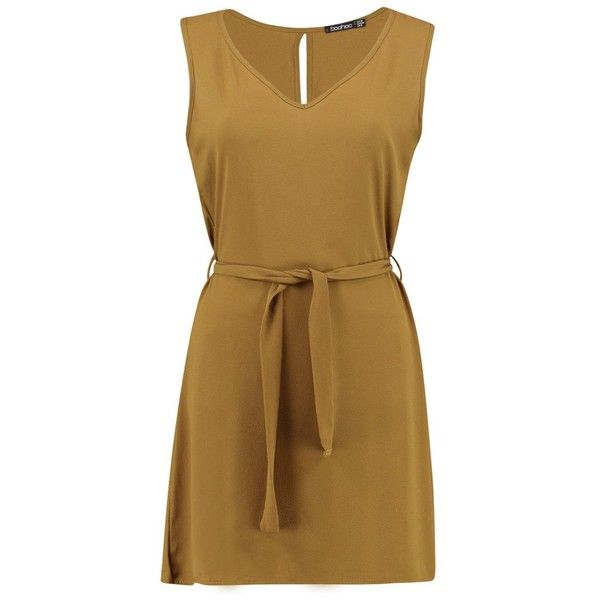 Boohoo Lola Tie Waist Woven Shift Dress ($26) ❤ liked on Polyvore featuring dresses, maxi dresses, brown maxi dress, shift dress, color block maxi dresses and brown camisole