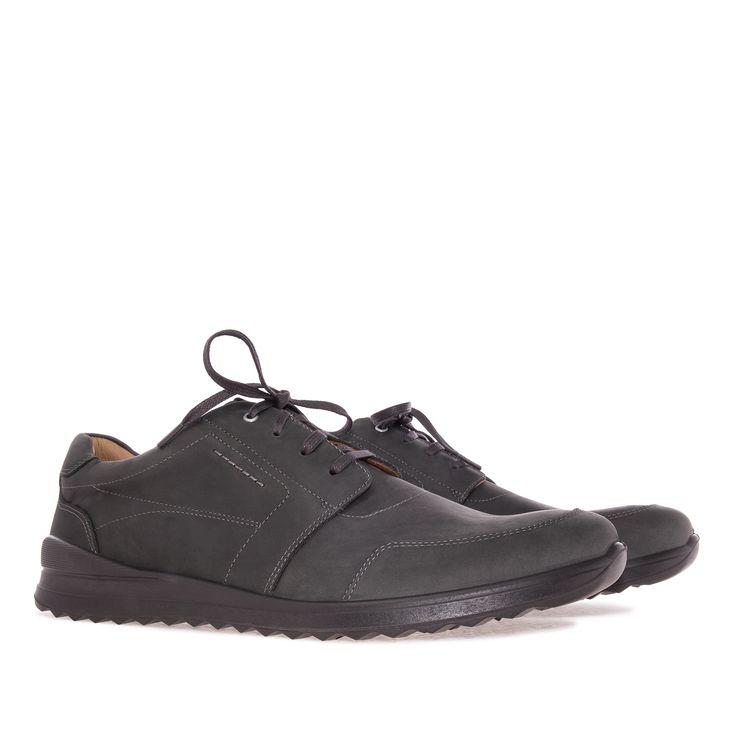 Zapato de estilo Deportivo en cuero Antracita y cordones del mismo color…