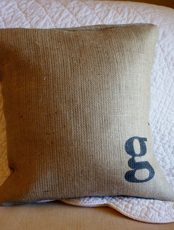 Items similar to Pretty Plain Burlap Pillow Cover with Monogram on Etsy & 46 best Burlap Pillows and Projects images on Pinterest   Burlap ... pillowsntoast.com