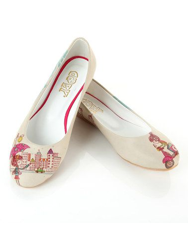 Another great find on #zulily! White & Pink City Scooter Ballet Flat #zulilyfinds
