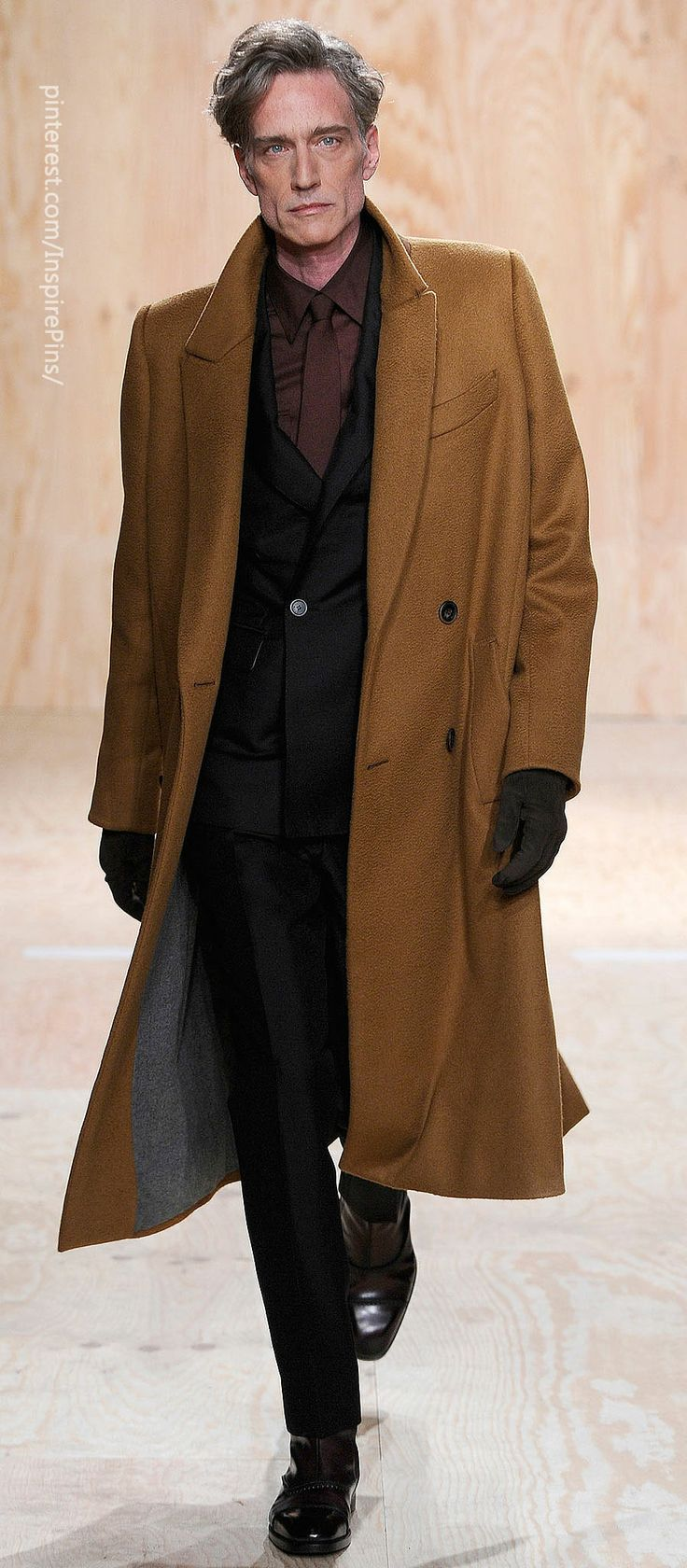 Berluti ///this coat....like the ones Mulder used to swagger off in the XFiles....with a big blouson back and moves when you walk,   also love the curry color of this marvelous coat!!