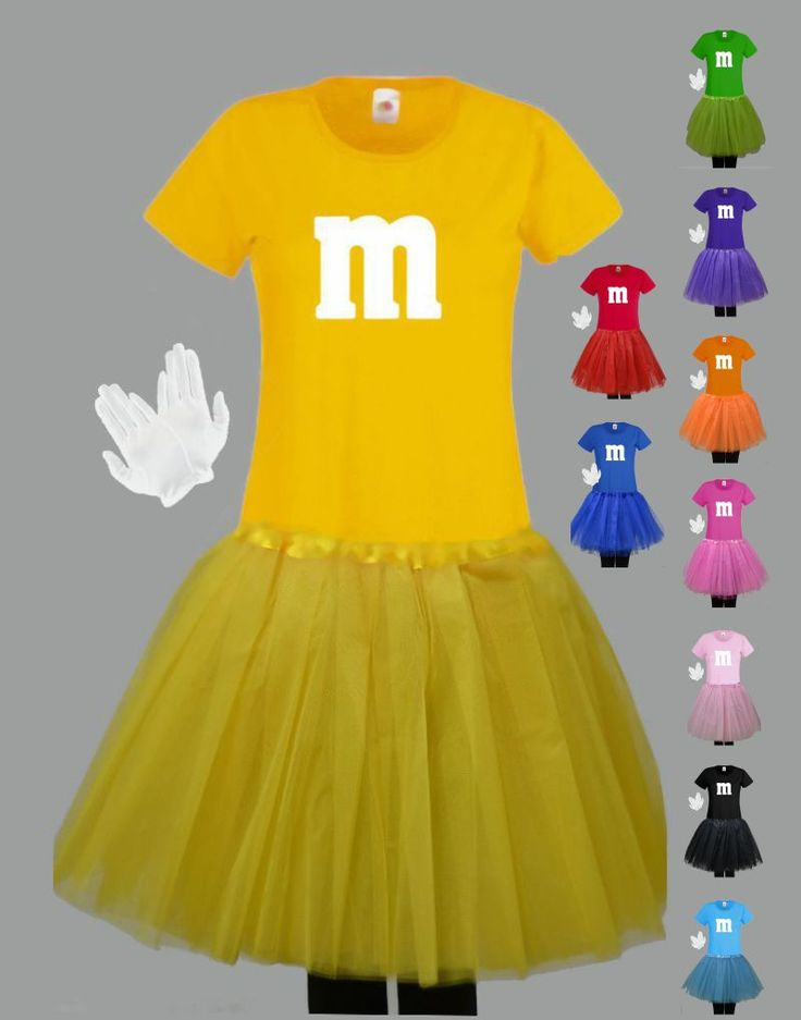 Damen Deluxe Kostüm für M&M Fans T-Shirt Tutu/Rock Handschuhe Karneval Mega
