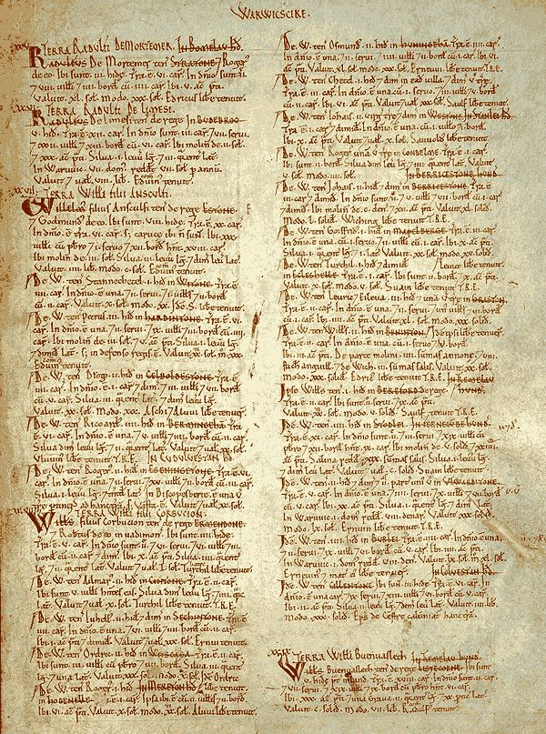 Page from the Domesday Book for Warwickshire, including listing of Birmingham.