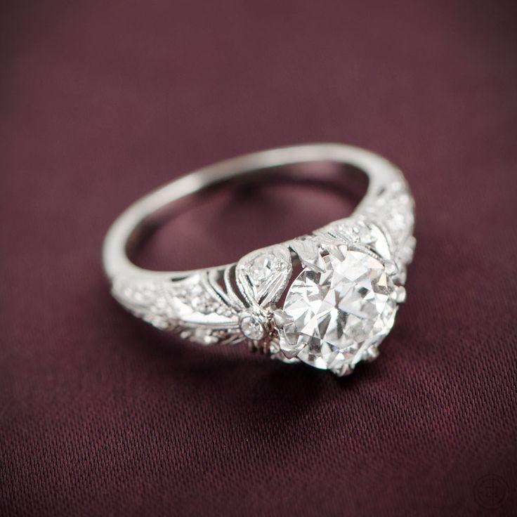 A stunning Edwardian Engagement Ring set in a beautiful handmade platinum mounting.