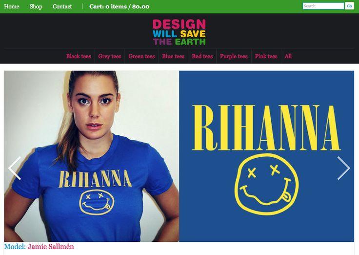 Rihanna tee shirt by Design Will Save The Earth worn by health and style blogger Jamie Sallmen #rihanna #nirvana #blue #yellow #cotton #tshirt #fashion #casual #pretaporte