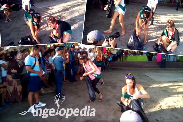 Contestants of Miss Earth 2016 work together for a cleaner coastline