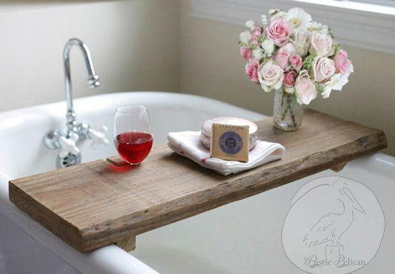 Rustic Bathtub Caddy-Wood Bathtub Tray - Bath shelf - reclaimed wood -barn wood -aged wood -IPad-Bathtub Tray -Tablet -Bath Tray-Tablet Slot