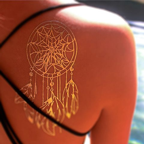 Gold Metallic Dream Catcher on shoulder