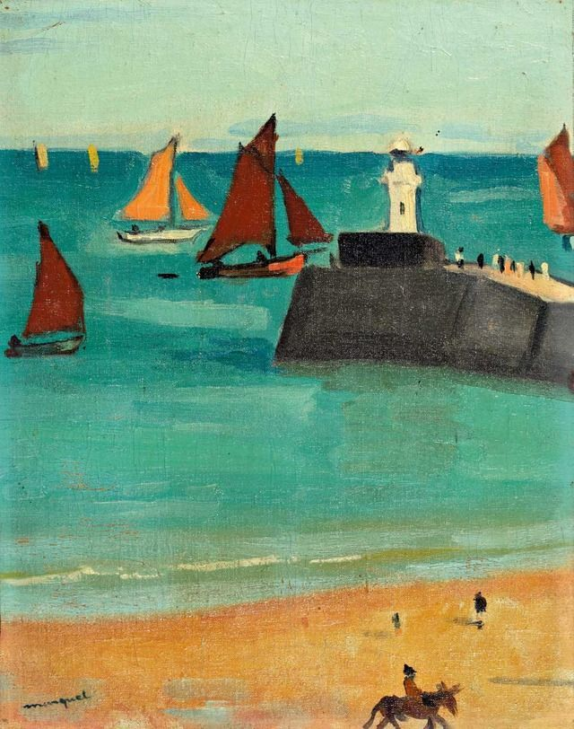 """Les sables d'Olonne - Albert Marquet  French, 1875-1947 Oil on canvas marbled on panel , 39 x 41 cm. """"Les sables d'Olonne"""" signed bottom left, and located on the back by mistake the port of La Rochelle by Marcelle Marquet."""
