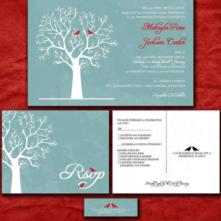 Winter Wedding Calling All Lovebirds This Lovely Blue And Red Invitation Set May Be