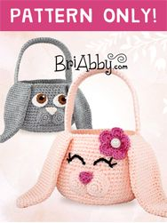 Adorable Easter Bunny basket crochet pattern for boy or girls! These also make great Halloween trick-or-treat bags for the little bunny rabbit lovers in your life! www.briabby.com