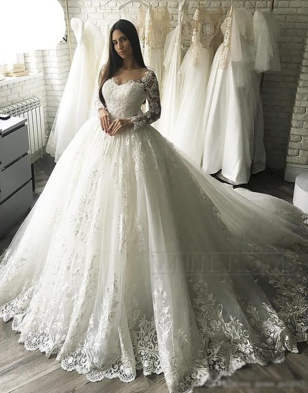 6f3a35f20 Vintage Ball Gown Embroidery Arab Dubai Wedding Dress long Sleeve Plus Size  Appliques Tulle White vestidos de novia 2019 W0349