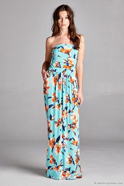 d9692bb3d2b Jersey Strapless Tube Floral Maxi Dress with Pockets-Mint