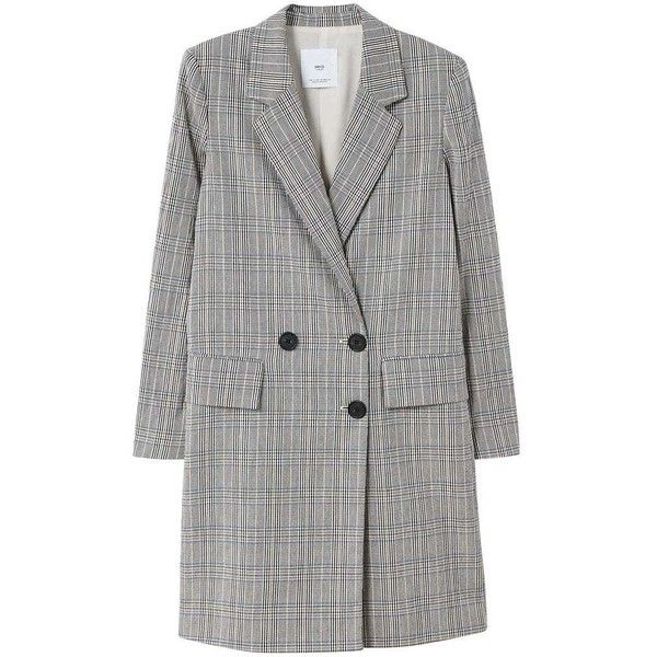Checked Structured Coat found on Polyvore featuring outerwear, coats, checkered coat, mango coats, fur-lined coats and checked coat
