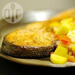 Grilled salmon with avocado and mango salsa