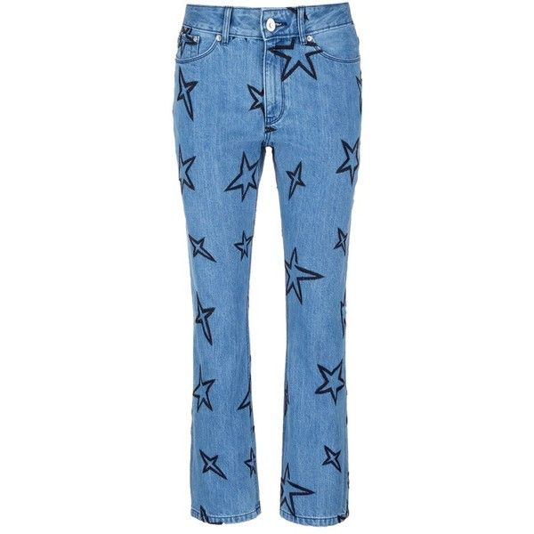 Etre Cecile Star embroidered slouch jeans (890 RON) ❤ liked on Polyvore featuring jeans, blue, star print jeans, blue jeans, star jeans, embroidery jeans and blue star jeans