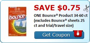 New Coupon!  Save $0.75 ONE Bounce® Product 34-60 ct (excludes Bounce® sheets 25 ct and trial/travel size) - http://www.stacyssavings.com/new-coupon-save-0-75-one-bounce-product-34-60-ct-excludes-bounce-sheets-25-ct-and-trialtravel-size-2/