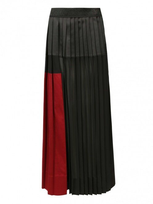 Плиссированная юбка-макси из смешанного хлопка - Общий вид