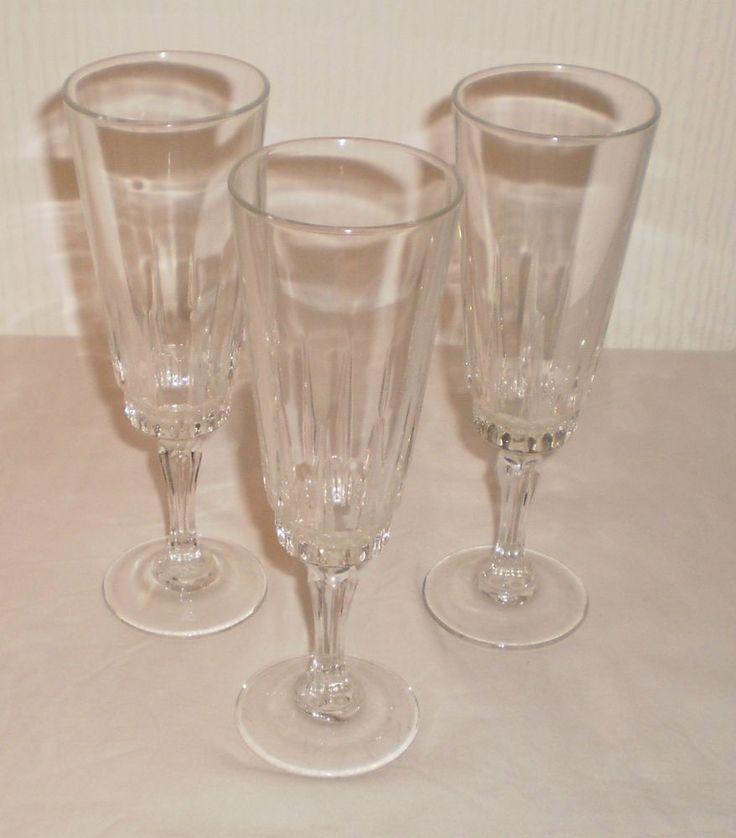 3 x Glass Champagne Cava Prosecco Sparkling Drinks Wine Fancy Flutes Glasses