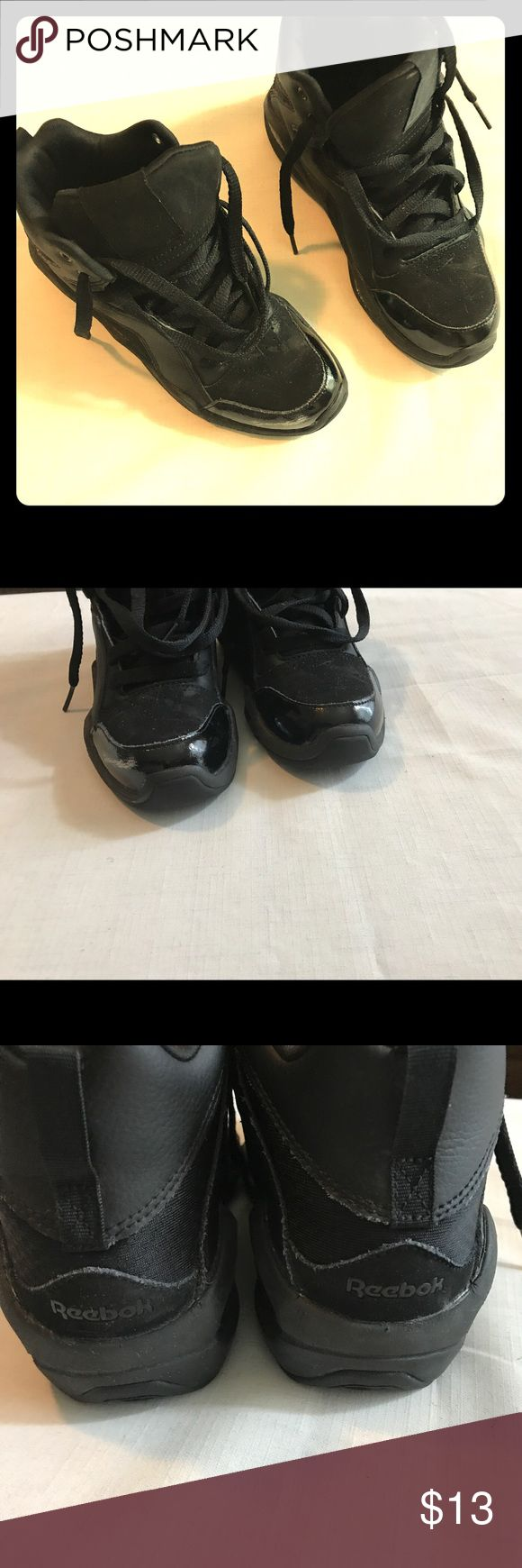 Monotone Reebok (little boys) All Black high-top reebok (Retro Shaq's). Scuff on front of one shoe as seen in picture. Reebok Shoes Sneakers