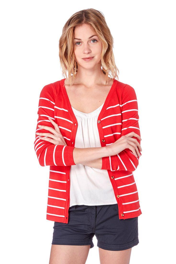 Venda Moda mulher trendy / 31007 / Emoi / Casacos de malha e casacos / Casaco de malha às riscas Vermelho e branco