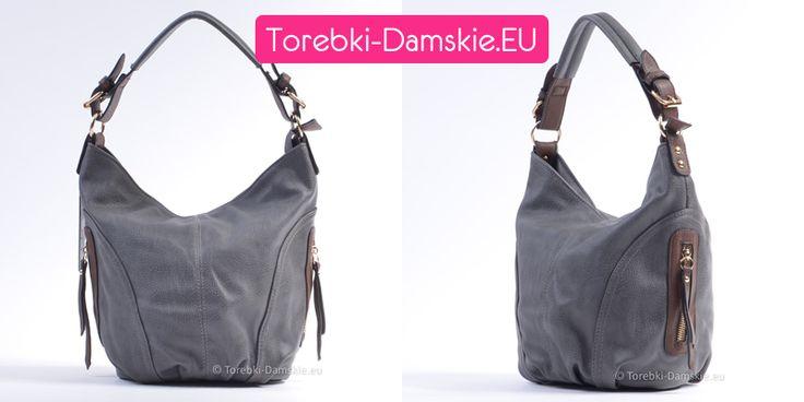 #torebki na jesień i zimę 2015 - świetny średniej wielkości model w pięknym odcieniu koloru szarego - popielatego - ciemna. W komplecie długi pasek z regulacją do przewieszenia torby przez ramię. #handbags