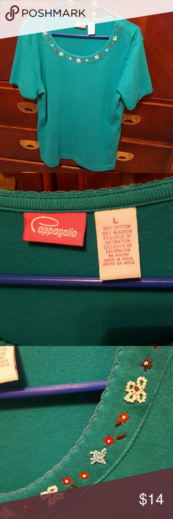 Cappagallo short sleeve turquoise shirt Cute Beading details at collar Cappagallo Tops Blouses