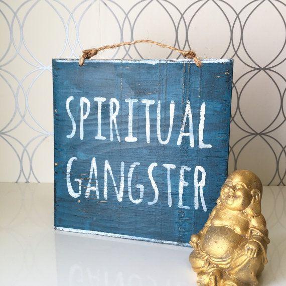 Spiritual Gangster Sign / Yoga Decor / Bohemian Decor / Hippie Decor - Blue