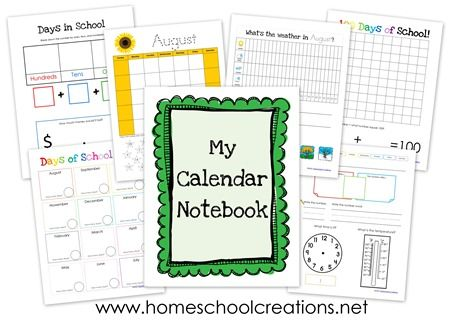 Calendar notebook printables for #ece - includes days in school, blank monthly calendars, graphing activities and more. Free printables in manuscript and cursive.