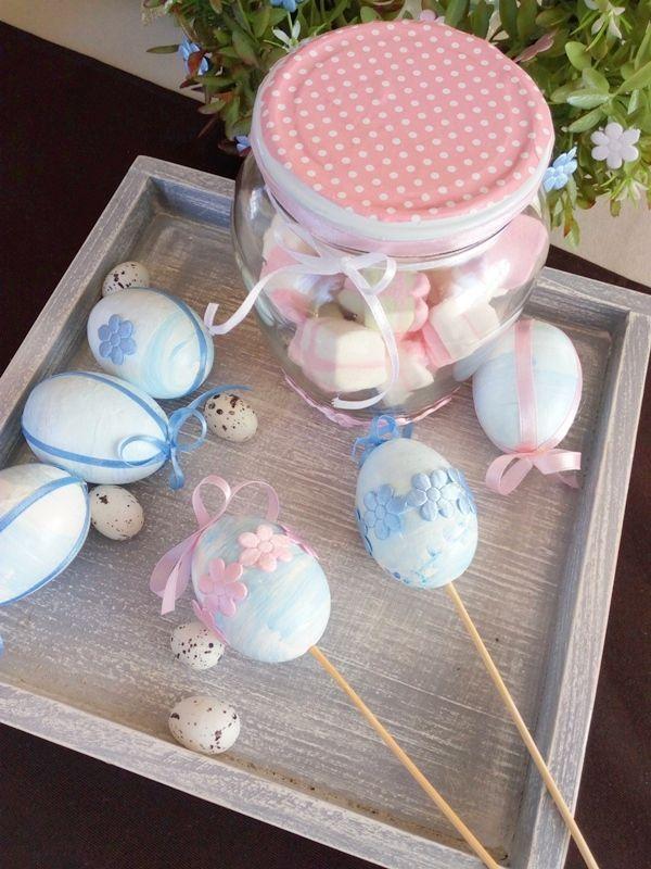 Wielkanocne dekoracje - jaja i słoik na cukierki | Szysia