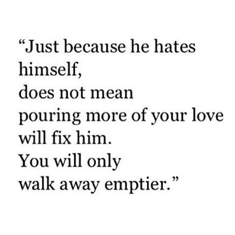He didn't hate me, but I couldn't fix the problem no how hard I tried.   The only way to fix it was to walk away.