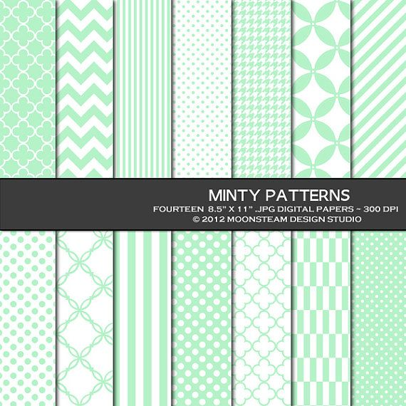 INSTANT DOWNLOAD Minty Patterned Digital Papers Mint Green Digital Backgrounds Commercial Use 8.5x11 12x12 A4 Commercial Use