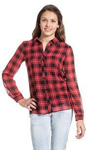 Here and there Blouse rood gevoerde meisjes-chiffon- blouse met lange, oprolbare mouwen- In modieus caro-design - 100% Polyester- 100% Polyester #zomercollectie #zomerkledingdames #zomerkleding