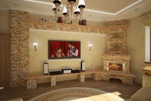Угловые камины в интерьере гостиной — оформление комнаты