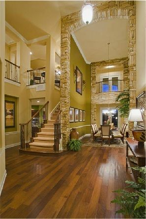 wow: Dining Rooms, Future Houses, Indoor Balconies, Dreams Houses, Open Spaces, Grand Entrance, Stones Wall, Tall Ceilings, High Ceilings