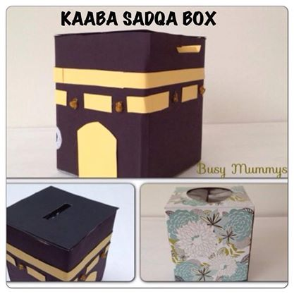 Kaaba Sadqa Box out of a Tissue Box :) Cover with black constuction paper or acrylic paint. Cut a tiny slit at the tissue opening and decorate with details