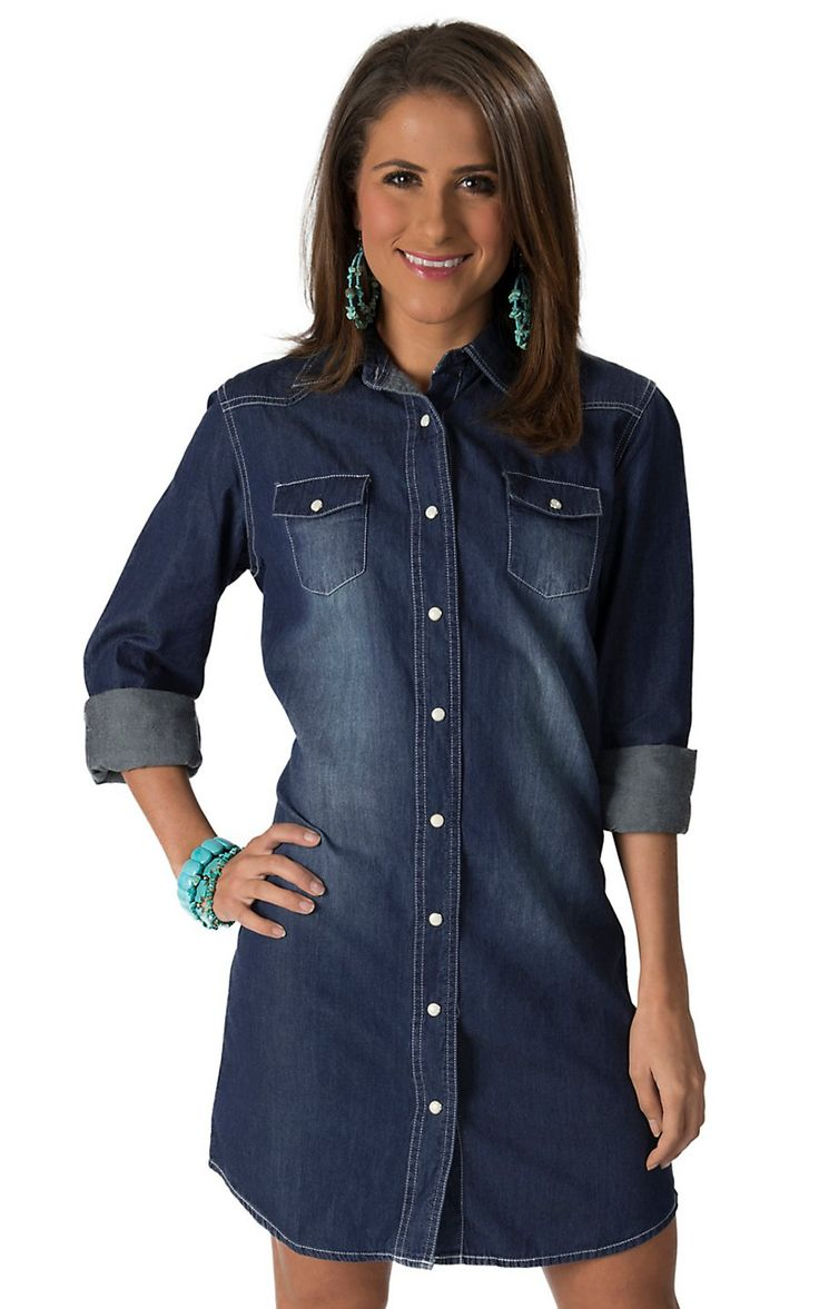 Wired Heart Womenu0026#39;s Denim Long Sleeve Shirt Dress | Womenu0026#39;s Skirts and Dresses | Pinterest ...